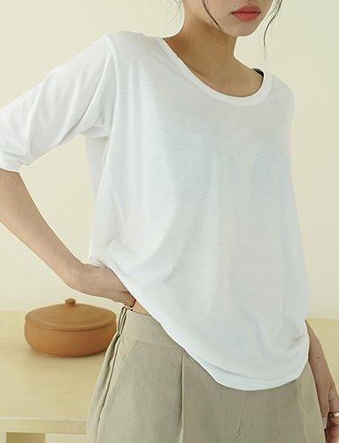 스판 U넥 티셔츠 TS7235