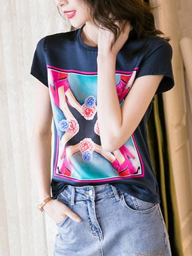 플라워구두  천연실크 티셔츠