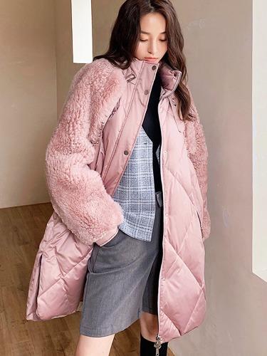 여자 양모 양털 코트