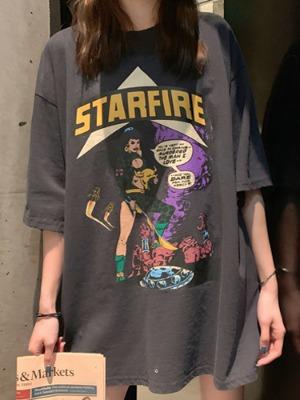 카툰 루즈핏 반팔 티셔츠
