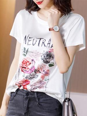 로즈 천연실크 티셔츠