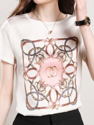 핑크링 천연실크 티셔츠