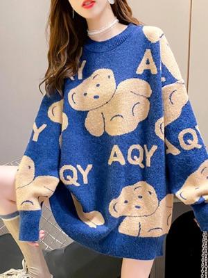 누운곰 라운드 여성니트 스웨터