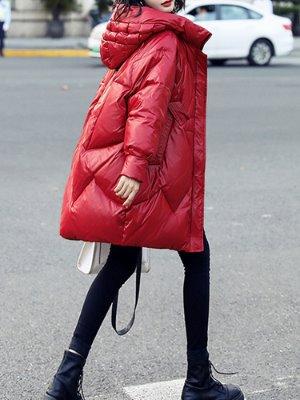 여성오리털 빨간패딩