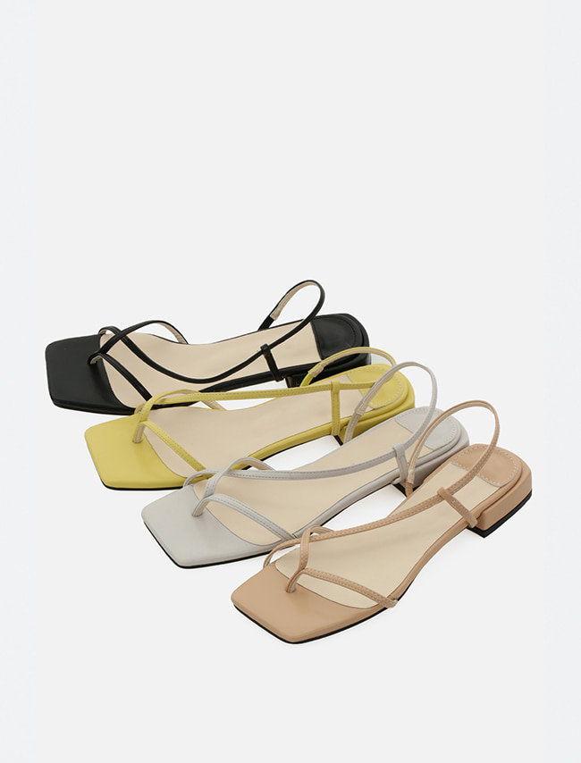 Low Hem Diagonal Strap Sandals