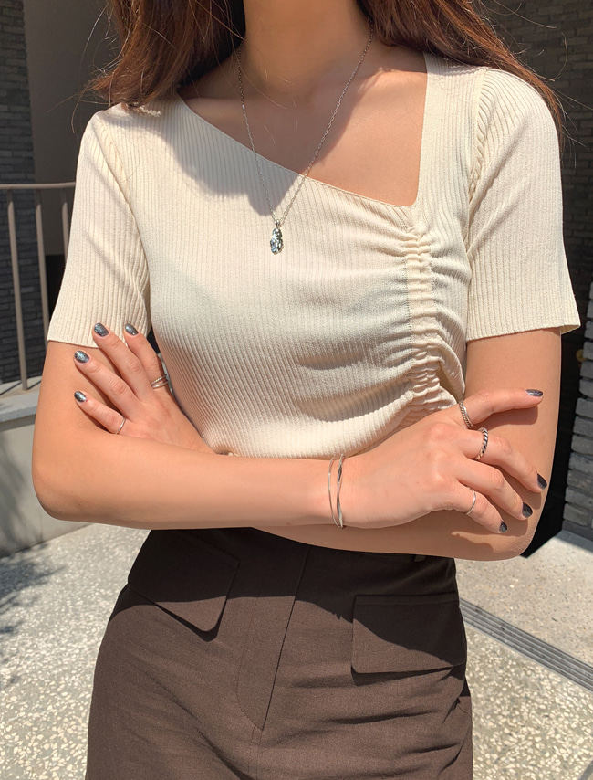 Short Sleeve Shirred Knit Top