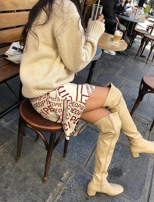 Beige Side Zipper Knee-High Boots