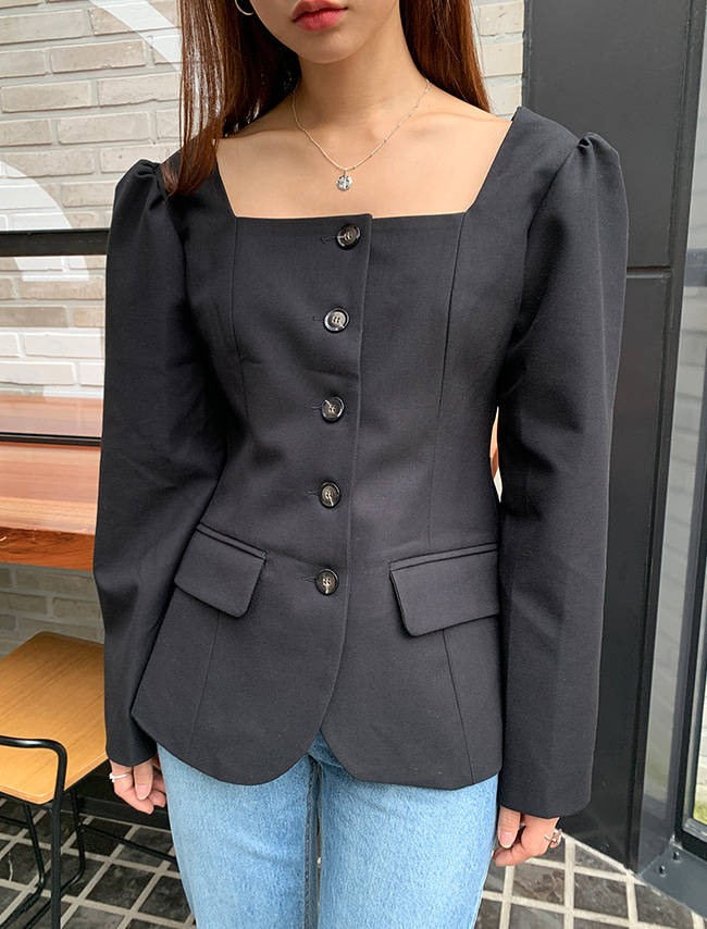 Square Neck Single-Breasted Jacket