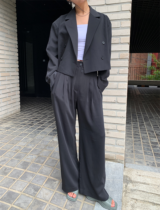 Cropped Jacket and Wide Leg Pants Suit