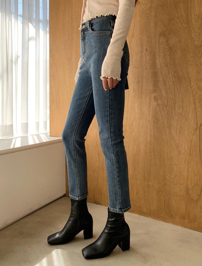 Fleece-Lined Straight Cut Dark Denim Jeans