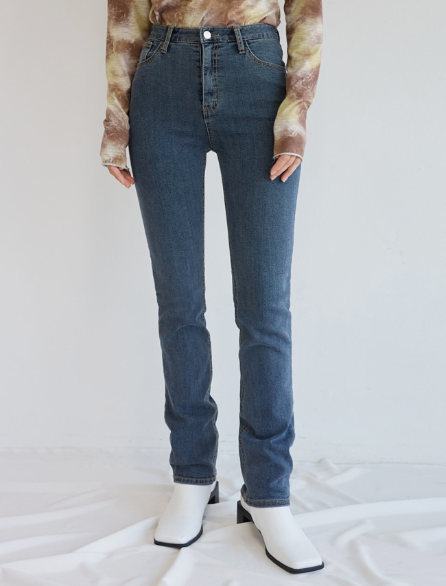Mid Blue Denim Straight Leg Pants