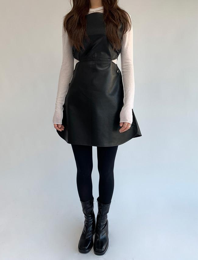 Button-Up Sides Faux Leather Mini Dress