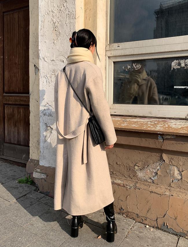 Tie-Waist Woolen Coat