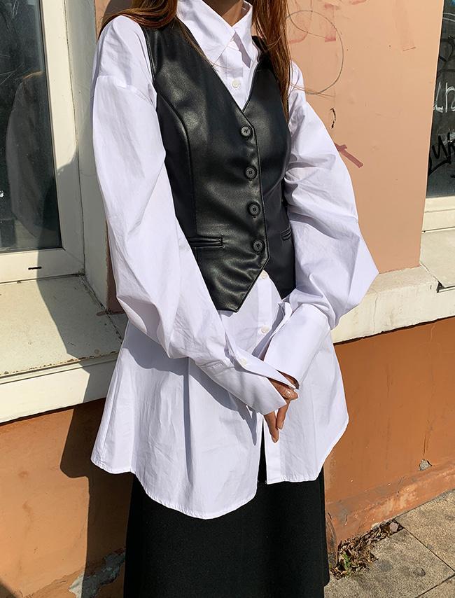 Slim Faux Leather Vest