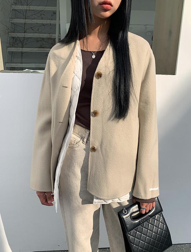 Detachable Lining Collarless Jacket