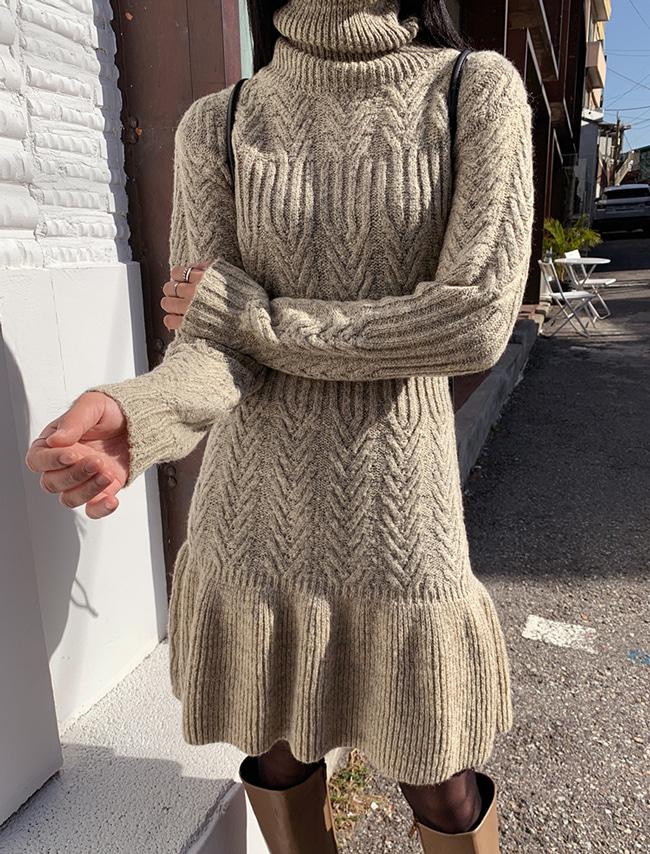 Flared Knit Turtleneck Dress