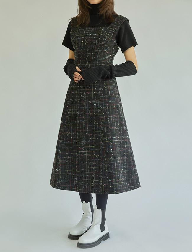 Checkered Tweed Dress