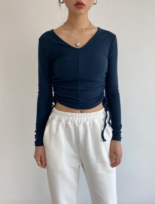 Side Strap Shirred T-Shirt
