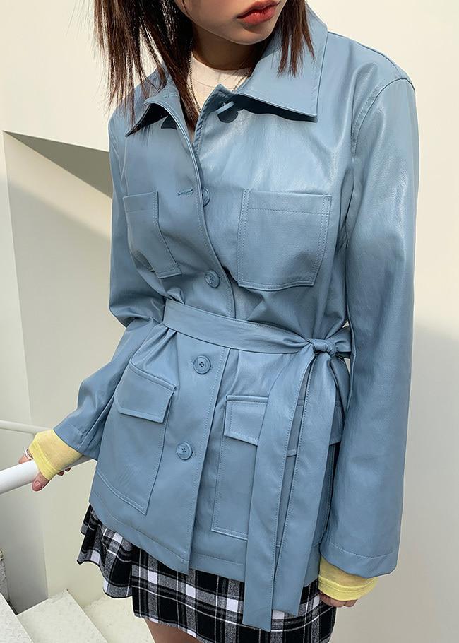 Tie-Waist Faux Leather Jacket
