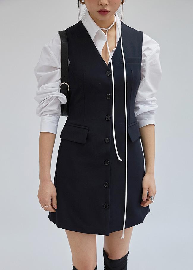 V-Neck Button-Down Dress