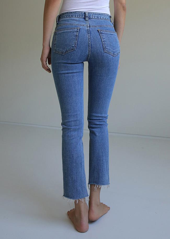 Raw Hem Slim Mid-Rise Jeans