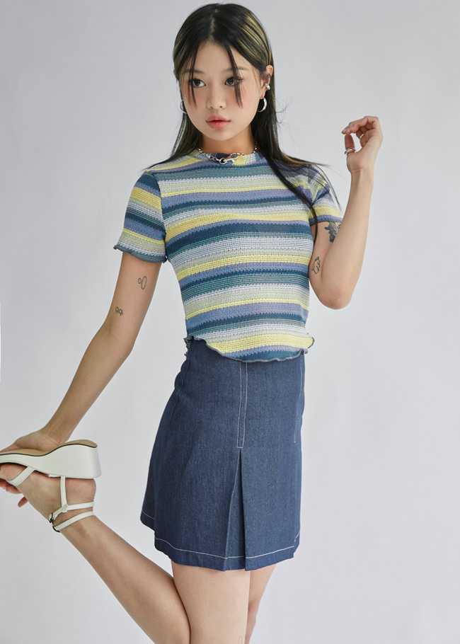 Pleated Contrast Stitch Skirt