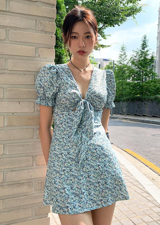 Floral Bow Detail Mini Dress