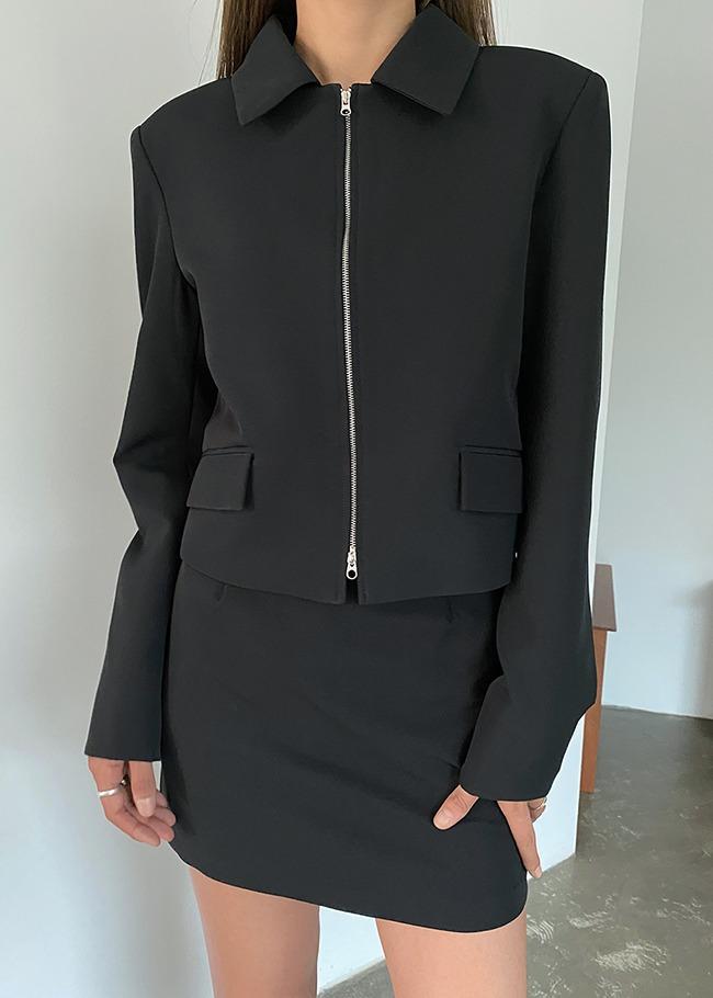 Solid Tone Zip-Up Crop Jacket