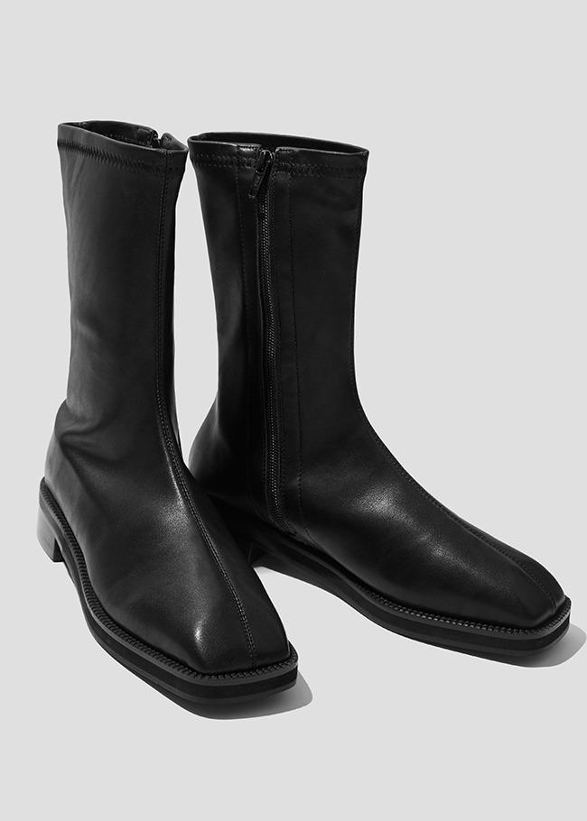 Low Heel Side Zip Midi Boots
