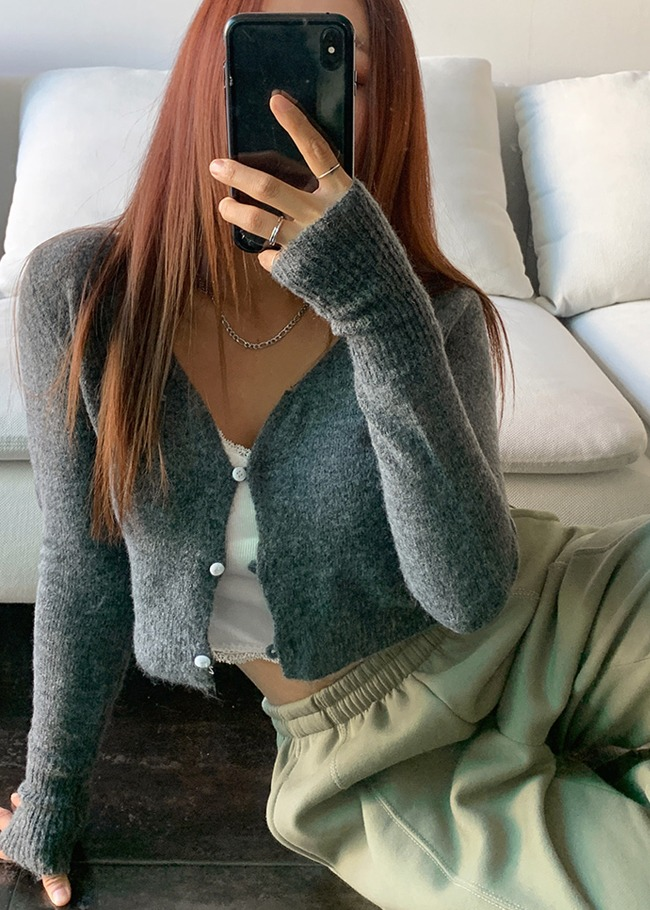 Wide V-Neck Crop Cardigan