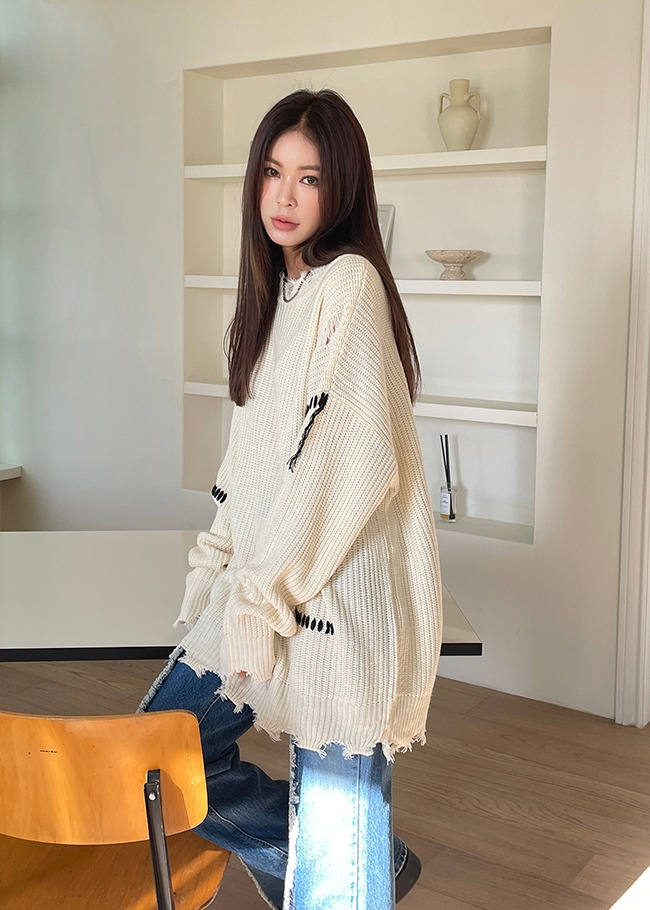 Loose Fit Distressed Knit Top