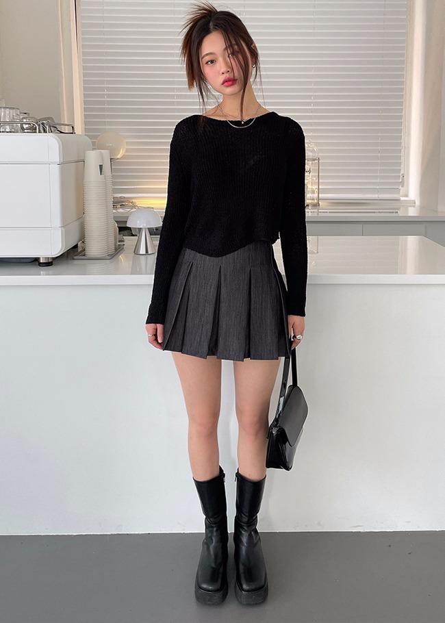 Pleated Basic Mini Skirt