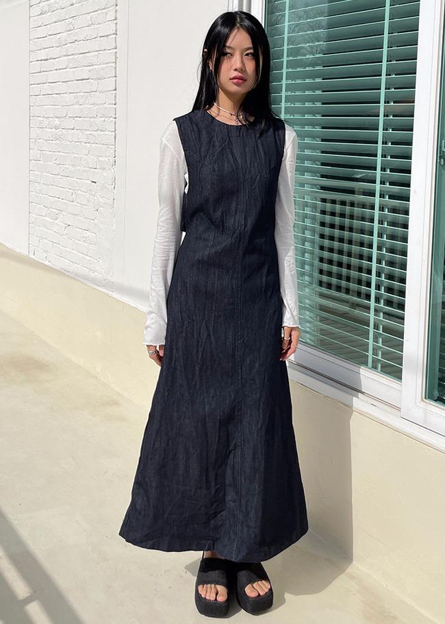 Open Back Strap Denim Dress