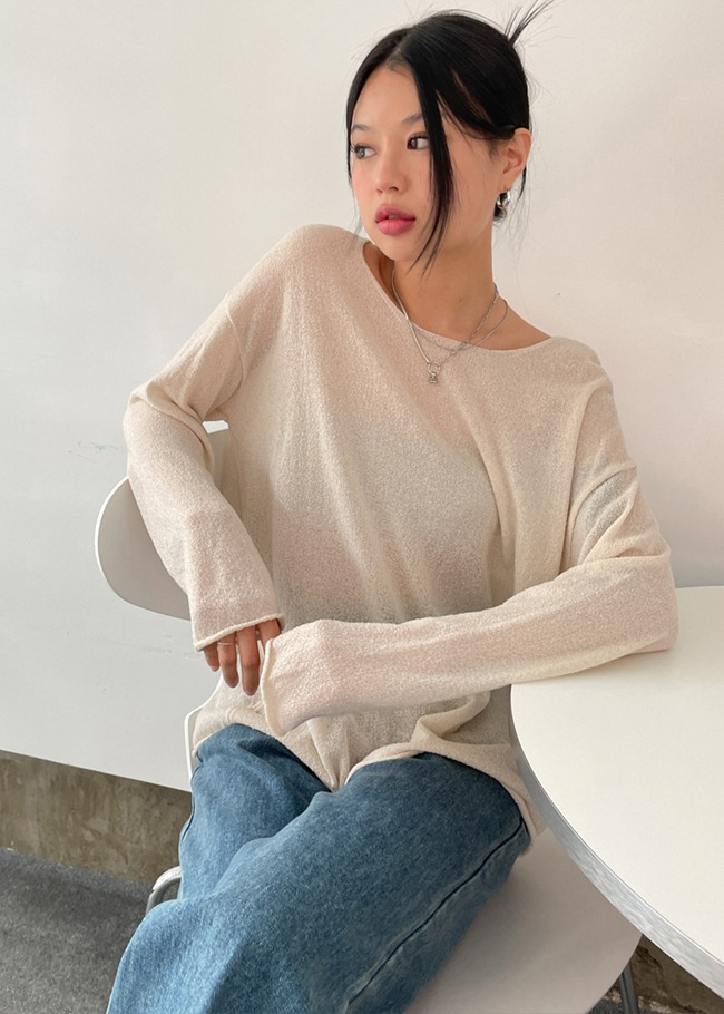Loose Fit Linen Blend Knit Top