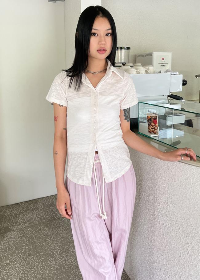 Short Sleeve Slightly Sheer Shirt