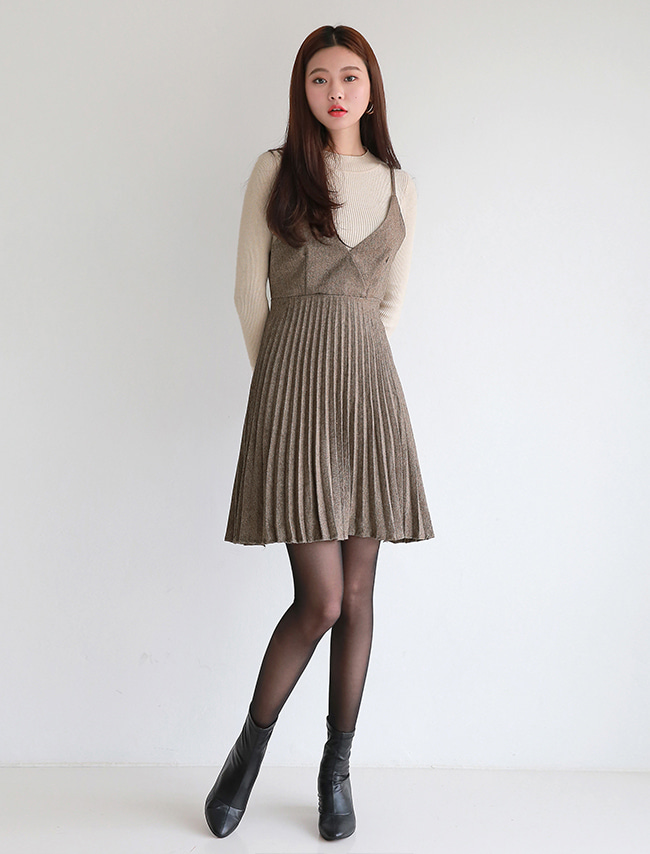 [SET] Beige Long Sleeve Top and Skirt Set