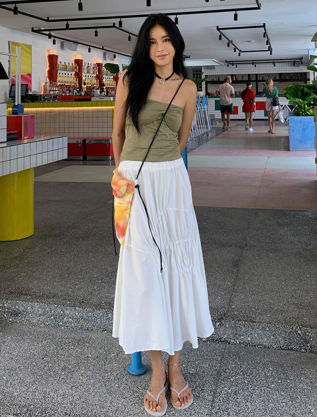 Shirred Long Skirt
