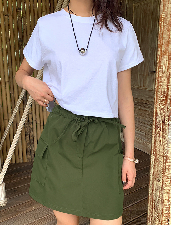 Drawstring Waist Cargo Mini Skirt