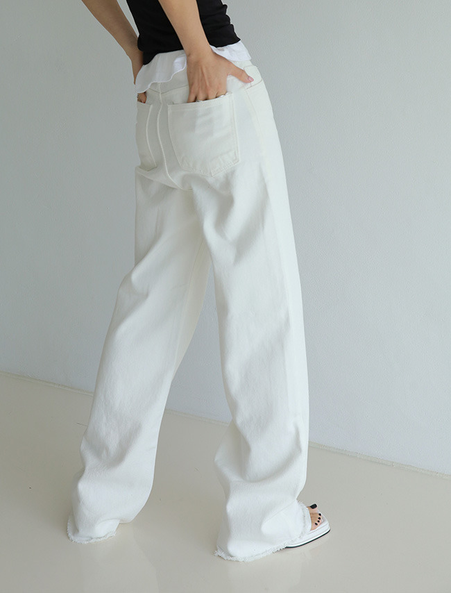 White Baggy Cotton Jeans
