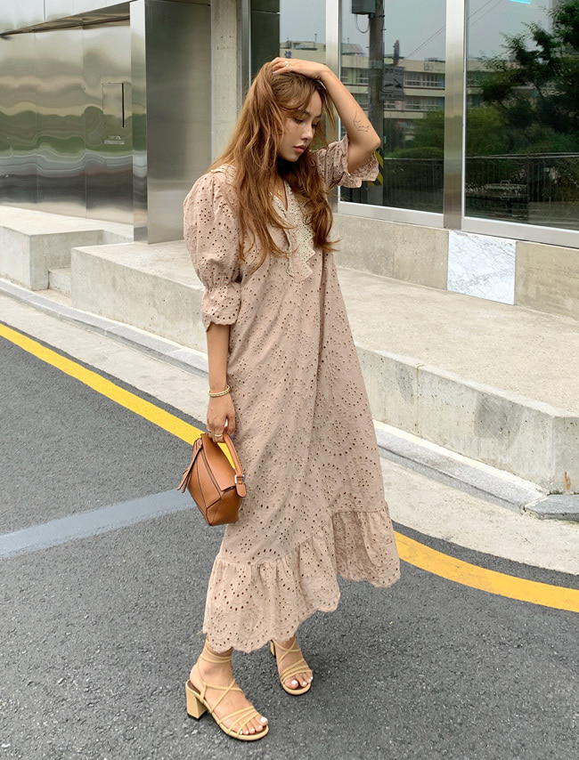 Ruffled Hem Eyelet Dress