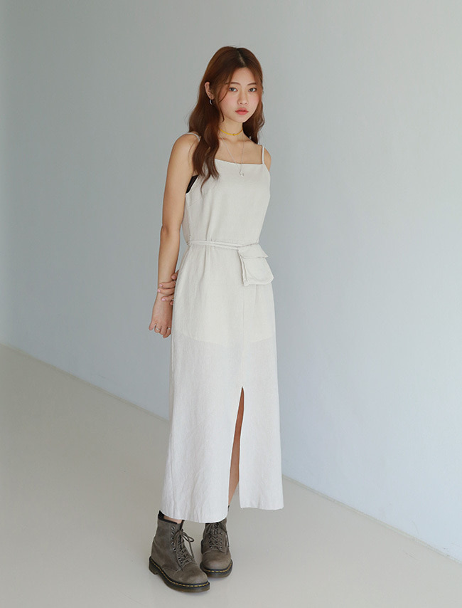 Front Slit Long Dress And Belt Bag Set