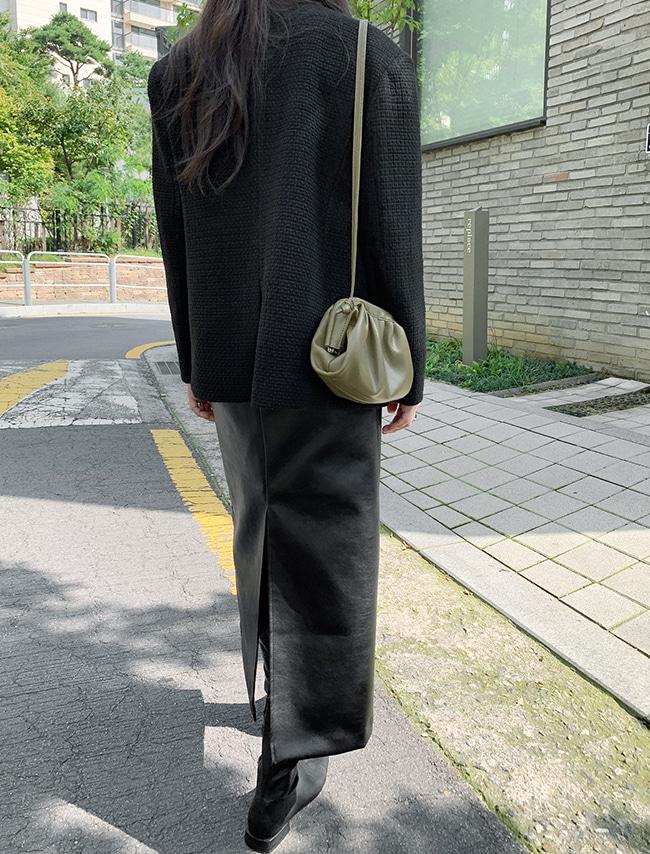 Rear Slit Faux Leather Skirt