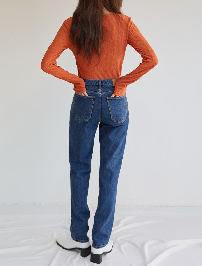 Dark Denim Straight Cut Jeans