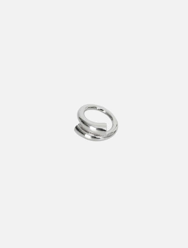 Silver-Tone Cylinder Twist Ring