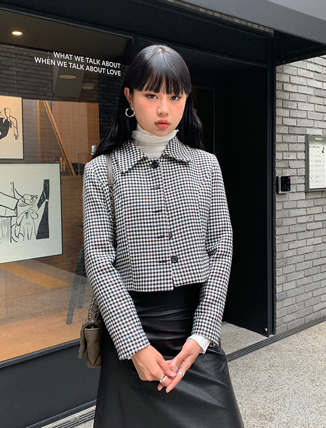 Woolen Check Cropped Jacket