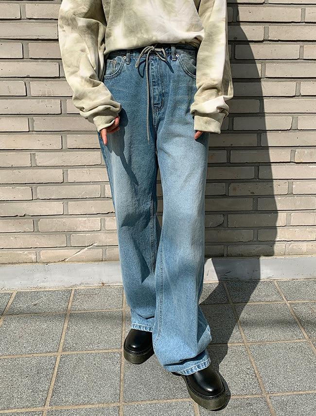 Drawstring Waist Wide Leg Jeans
