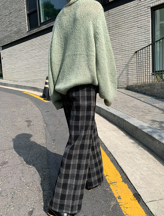 Wide Leg Wool Blend Check Pants