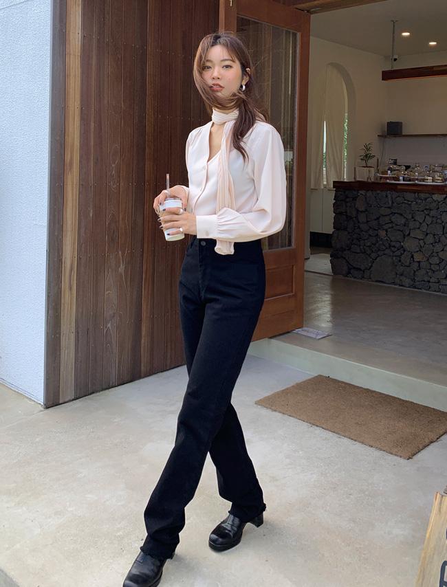 Black Slim Straight Cut Jeans
