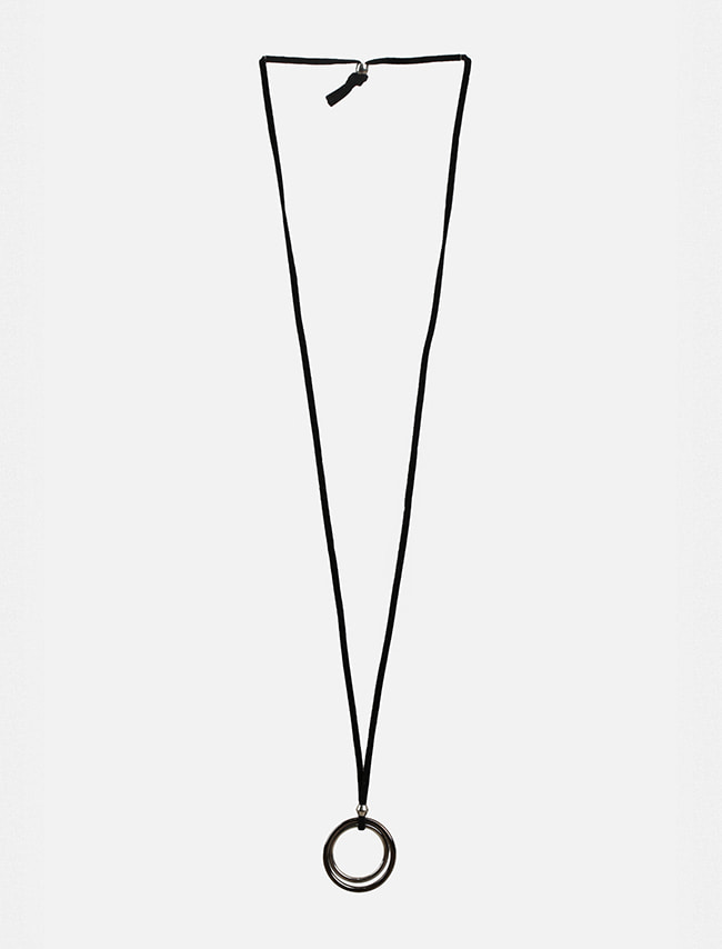 Double Ring Pendant Cord Necklace