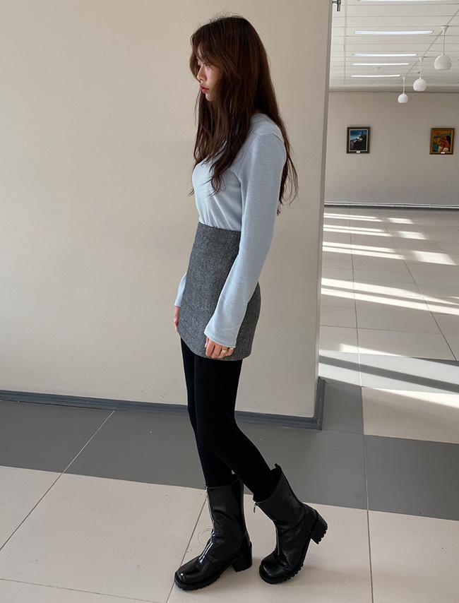 A-Line Herringbone Mini Skirt